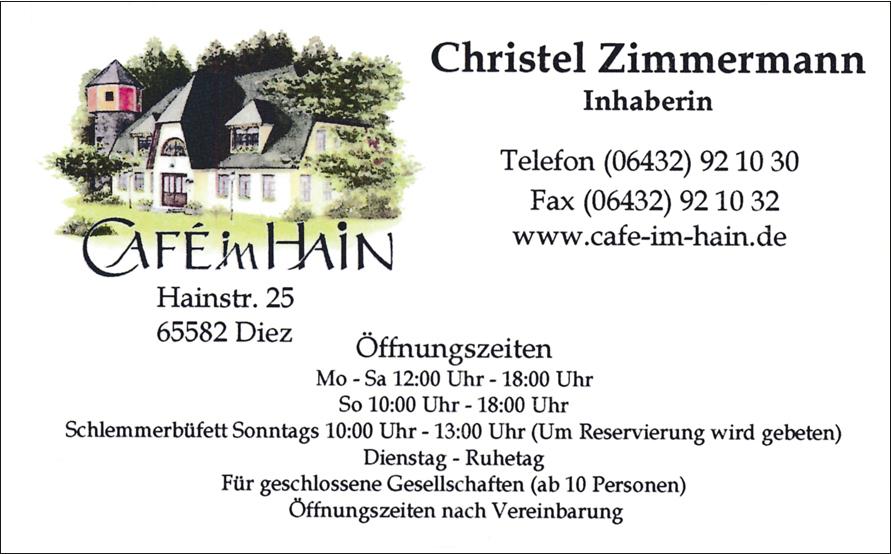 Christel Zimmermann Cafe Hain Diez