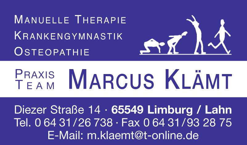 Marcus Klämt Therapie Krankengymnastik Osteopathie Limburg Dietkirchen