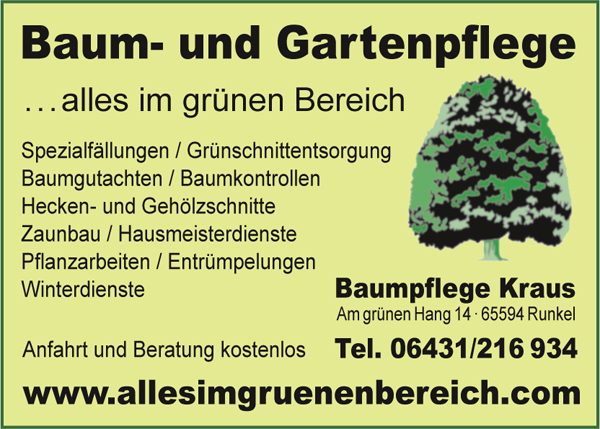 Baumpflege Kraus Hausmeister Baumschnitt Baumgutachten Entrümpelungen Heckenschnitt Gehölzschnitt Gartenbau Landschaftsbau Runkel Dehrn Limburg Dietkirchen Lindenholzhausen