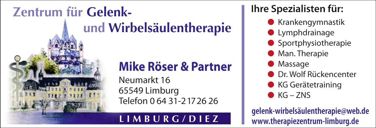 Mike Röser Physiotherapie Gelenktherapie Wirbelsäulentherapie Massage Lymphdrainage Limburg Dietkirchen Diez