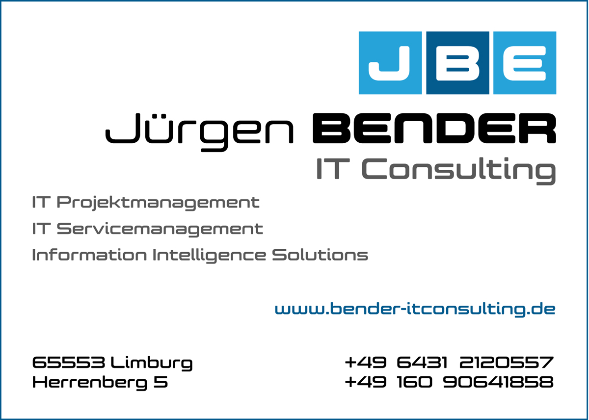 Jürgen Bender IT Consulting jbe Projektmanagement Servicemanagement Information Intelligence Solutions Dassault Exalead CloudView ITIL PMI Ockham Mercure Limburg Dietkirchen